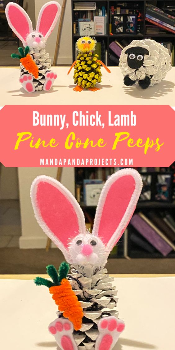 Easter bunny, chick and lamb painted pine cone Peeps. Nature Easter craft for kids #eastercrafts #easter #easterdecor #easterdiy #pineconecrafts #pineconeart #kidscrafts #naturecraftsforkids #naturecrafts #springcraftsforkids #bunny #chicken #lamb
