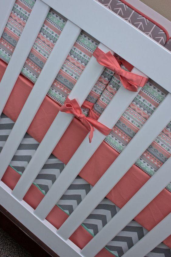 Salmon Mint Tribal Arrows Baby Bedding Crib Set by modifiedtot