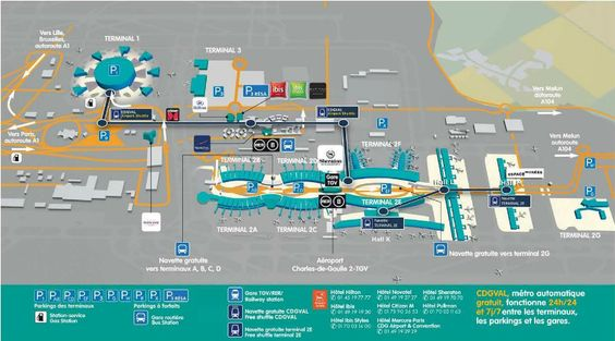 Paris-Charles de Gaulle Airport map: