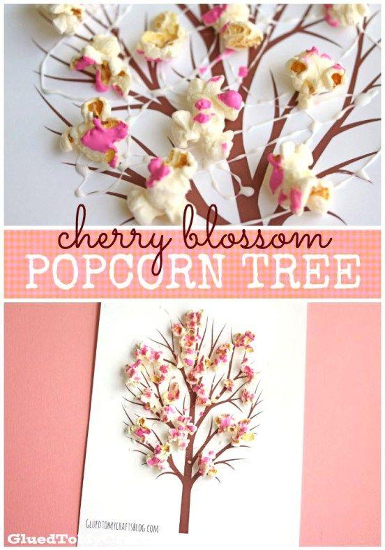 Cherry Blossom Popcorn Tree Kid Craft W Free Printable Template Popcorn Tree Spring Crafts Crafts For Kids