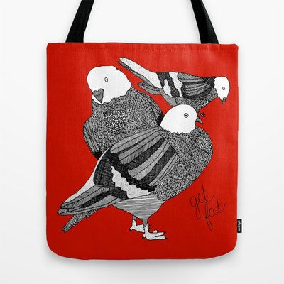 Red Pigeons Tote Bag - Double Sided Tote - $30