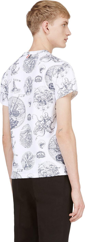 Thom Browne: White Nautical Print T-Shirt