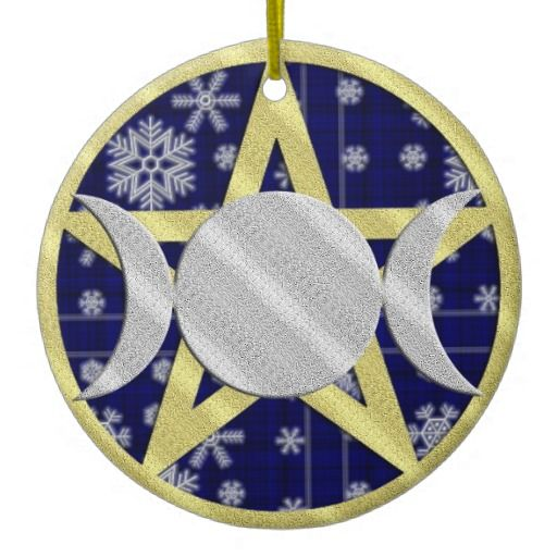 Pagan Yule Ornaments | Wiccan Yule Christmas Snowflake Pentagram ornament