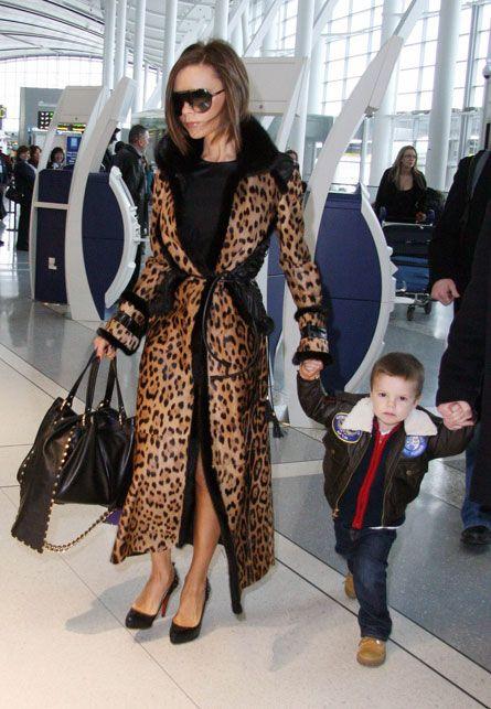 Victoria Beckham in leopard coat