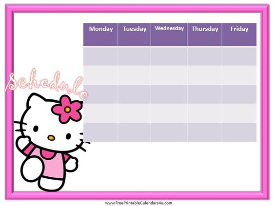 Hello Kitty weekly schedule | Printable Weekly Schedule | Pinterest ...