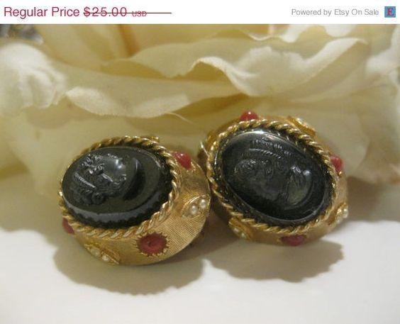 15 OFF SALE Vintage Black Cameo Earrings Signed by Sisters2Vintage,
