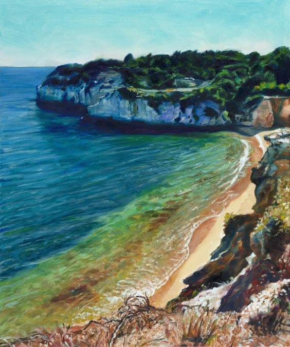 ARTFINDER: Praia dos Tremocos by Alex Ebdon - I came across this beach during a clifftop walk in the Algarve in summer. The intense light made a beautiful scene, with stark contrasts between the stone in...