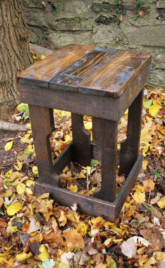 Pallet Wood Barstool (Made to Order). $50.00, via Etsy.