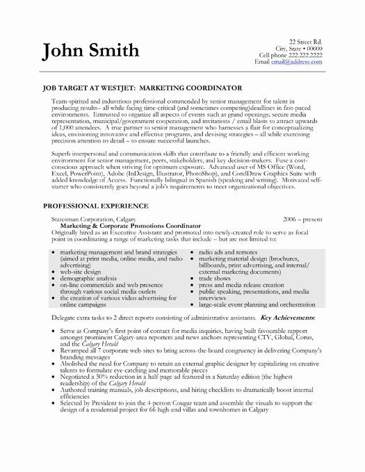 Marketing Coordinator Resume Sample Inspirational Here To Download This Marketing Coordinator Resume In 2020 Marketing Resume Sample Resume Resume Examples