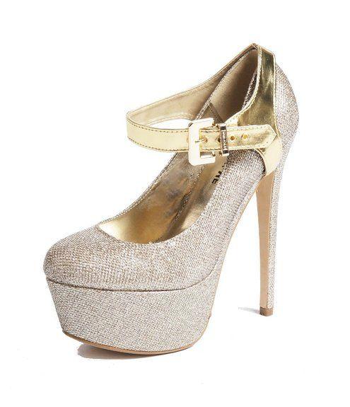 Abnehmbare Schuhbander - Zum Befestigen von hochhackigen Schuhen (Single Gold)