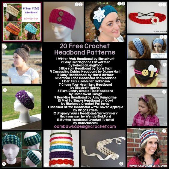 20 Free Crochet Headband Patterns http://oombawkadesigncrochet.com/2016/09/20-free-crochet-headband-patterns.html