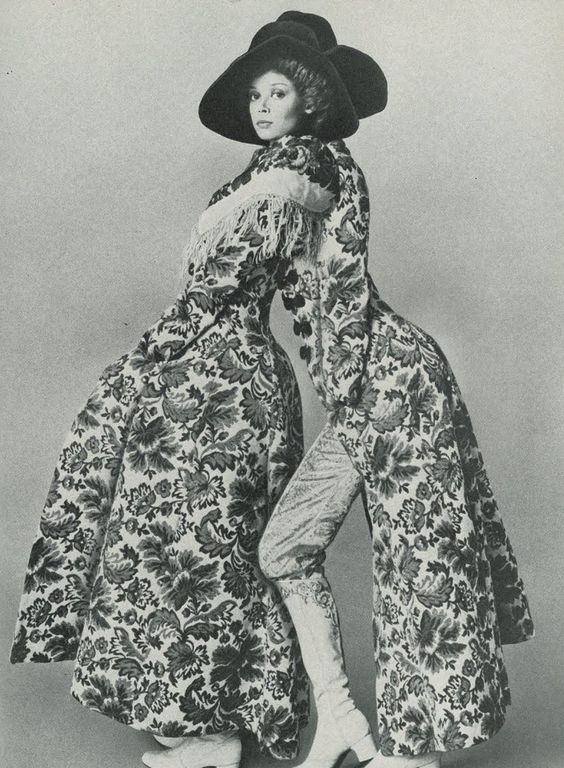 You and another evening's self  Vogue UK, October 1969  Frock coat by Biba  Hat by Christian Dior