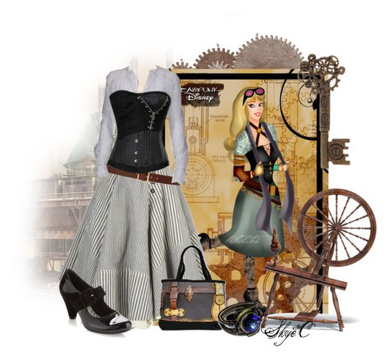 Briar Rose - Steampunk - Disney's Sleeping Beauty by rubytyra on Polyvore featuring polyvore, fashion, style, AllSaints, Clarks, Alexander McQueen, Disney, disney, sleepingbeauty and steampunk