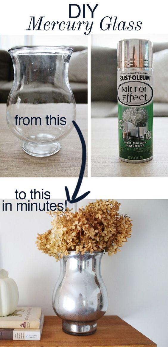 DIY Mercury Glass Vase - Turn a thrift store vase into a beautiful mercury glass vase in minutes!