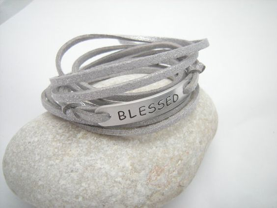Neutral tone Blessed stamped bracelet Wrap by PawlowskiCreations, $19.70
