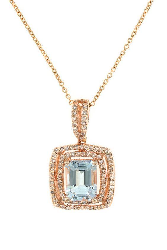 Effy 14K Rose Gold Aquamarine & Diamond Pendant Necklace