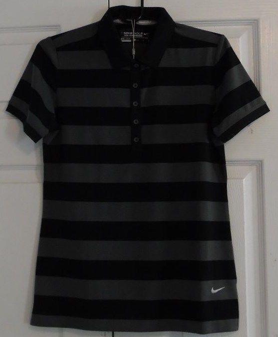 Nike Women's Tour Performance Golf Shirt, M, Dri-Fit, Black,Grey Striped, NWT #Nike #GolfShirt