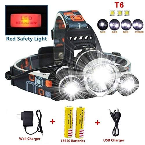 Newest Version Of Brightest Led Headlamp 20000 Lumen Improved Cree Led 4 Modes Headlight Battery Powered Helmet Light For Ca Helmet Light Cree Led Led Headlamp