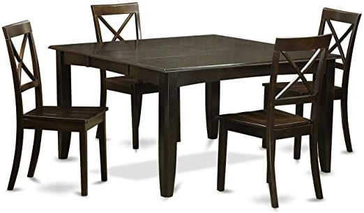Cappuccino Finish Solid Rubberwood 5 Piece Dining Set With Parfait Table And Four Boston Chairs Black Squa Solid Wood Dining Set Dining Room Sets Bar Furniture