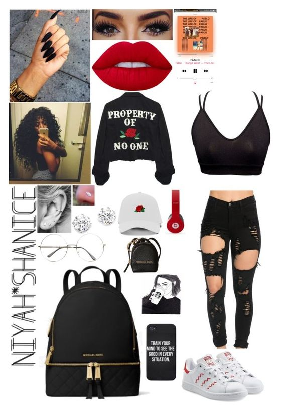 """""""Property of Jesus"""" by adavies1115 ❤ liked on Polyvore featuring Lime Crime, High Heels Suicide, Kenneth Jay Lane, MICHAEL Michael Kors and adidas Originals"""