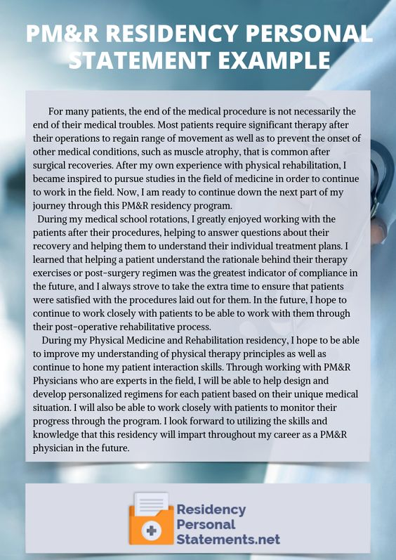 Pm R Residency Personal Statement Example Writing Services Family Medicine
