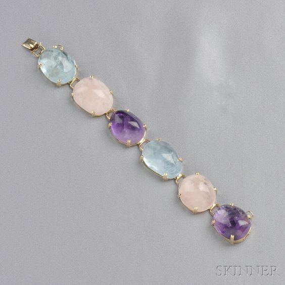14kt Gold Gem-set Bracelet, set with shaped cabochon aquamarine, amethyst, and rose quartz: