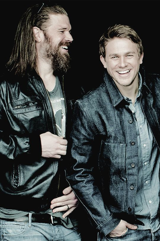 """lagerthx: """"Ryan Hurst and Charlie Hunnam photographed by Jack Guy """" JAX AND OPIE.......I loved OPIE!!!"""