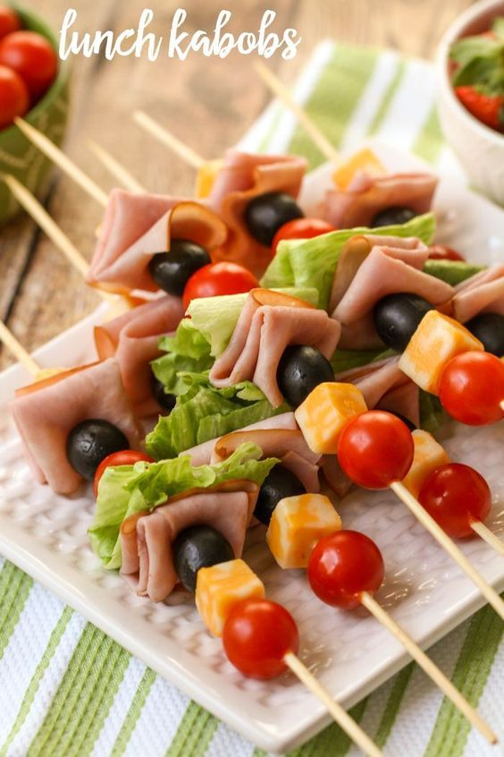 Lunch Kabobs - the perfect lunchtime meal filled with meat and veggies! They're also perfect for parties and barbecues!