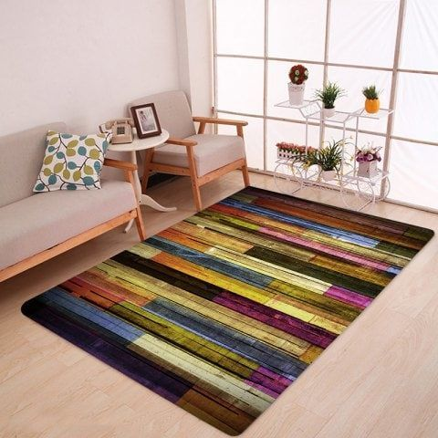 Colorful Wood Flooring Pattern Anti Skid Water Absorption Area Rug Large Area Rugs Rugs On Carpet Area Rugs