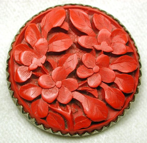Antique Cinnabar Button Deeply Carved Floral Design Set in Brass Back: