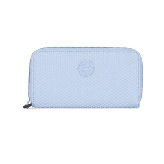 Kipling Clarissa Continental Wallet ($39) ❤ liked on Polyvore featuring bags, wallets, dots pool blue, coin wallet, blue wallet, blue bag, spot bags and kipling bags