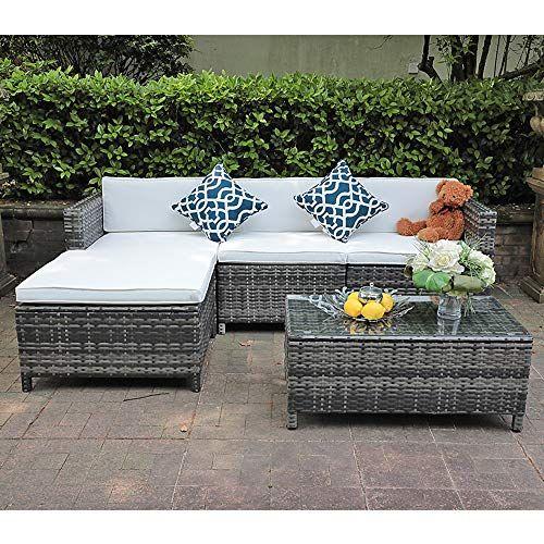 Joivi 5 Piece Outdoor Patio Grey Pe Wicker Furniture Set Patio