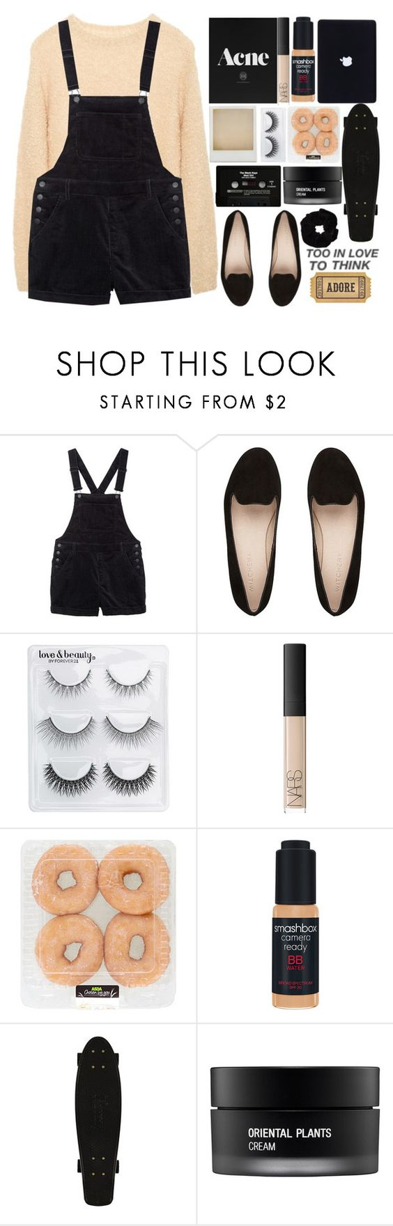 """""""☾ I found myself dreaming in silver and gold."""" by britney-brit ❤ liked on Polyvore featuring Monki, Forever 21, Holga, NARS Cosmetics, CASSETTE, Smashbox and Koh Gen Do"""