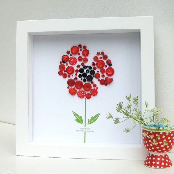 personalised baby girl button poppy picture by sweet dimple | notonthehighstreet.com