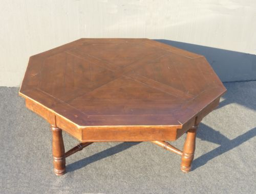 vintage large rustic spanish over sized octagon wood coffee table
