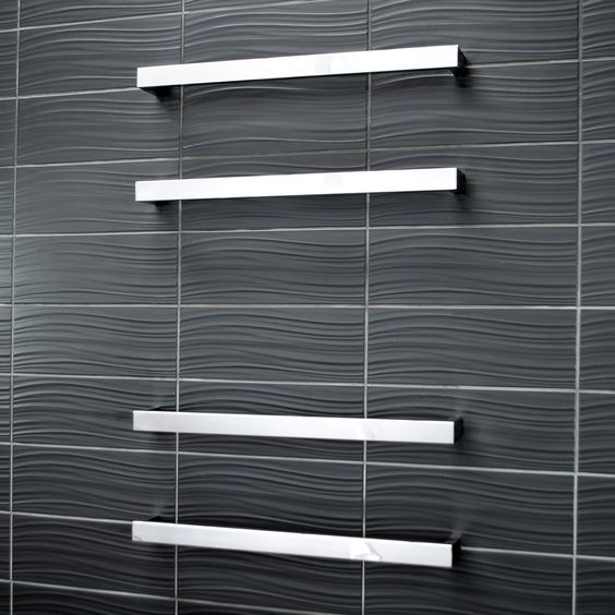 Square Heated Single Bar Towel Rail Bathroomware House