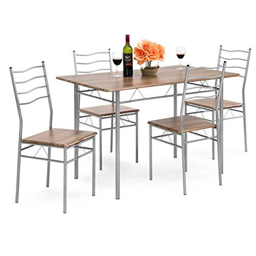 Best Choice Products 5 Piece Dining Set Wooden Kitchen Table Metal