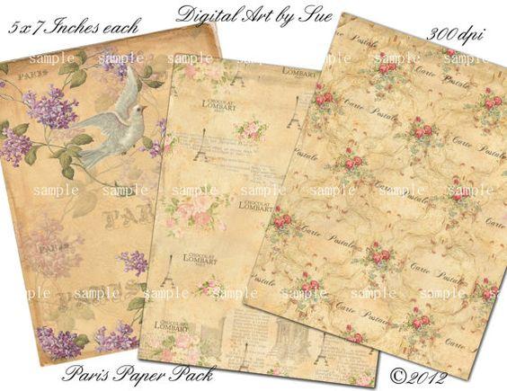 Paris Paper Pack -  U Print Digital Download Collage Sheet