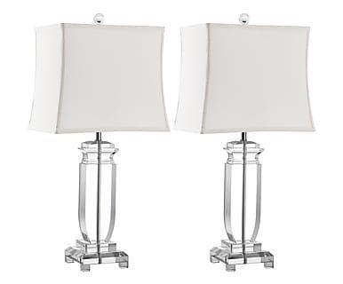 Set di 2 lampade da tavolo in cotone e cristallo Max trasparente, 30x63x20 cm