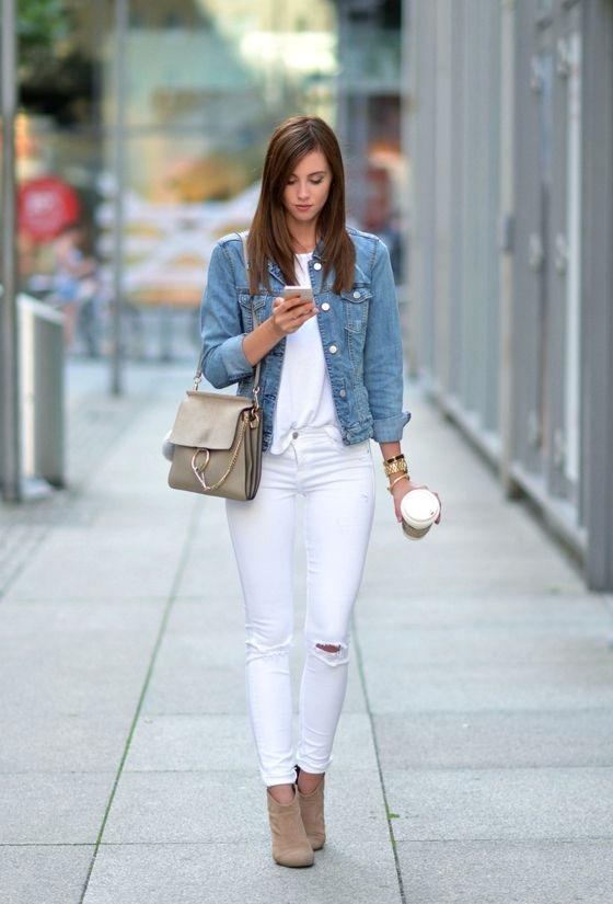 Vogue Haus Blogger Shirt Jeans Jacket Shoes Bag Hat Jewels Denim Jacket White Top White Jean White Ripped Jeans White Ripped Skinny Jeans Summer Trends Outfits