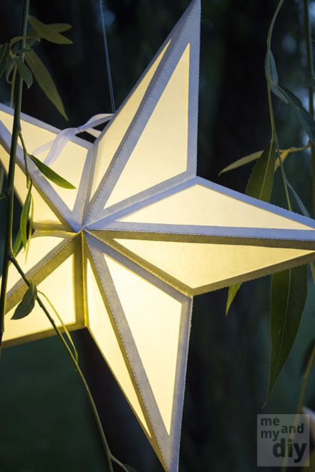 DIY Paper Star Lanterns and Free Cutting Files Christmas trees