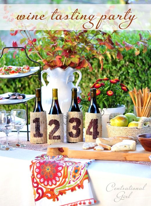 wine tasting party + stenciled bottle covers