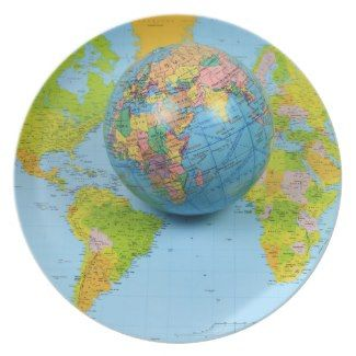 World traveler Melamine Plate  #design by #MorningLight #world #map #spherical #map #photography #stockphotography