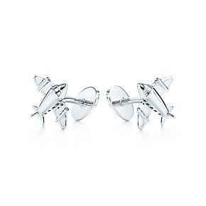 Airplane cuff links in sterling silver.