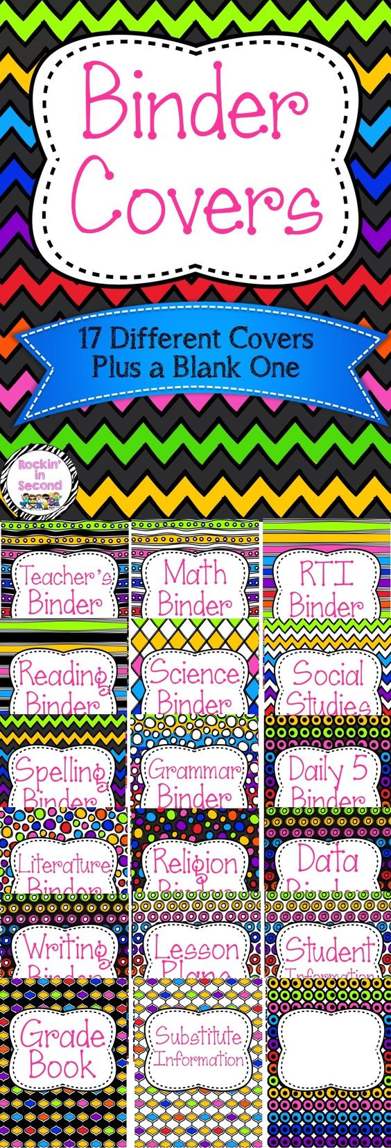 How To Make A Rainbow Book Cover ~ Rainbow teacher binder covers literature follow me and