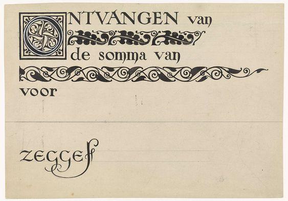 Antoon Derkinderen   Ontwerp voor een kwitantie, Antoon Derkinderen, 1869 - 1925   Ontwerp voor een kwitantie voor de glas-in-lood werkplaats van A.J. Derkinderen of van de architect Hanrath.