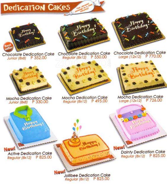 Cake Bake Shop Menu