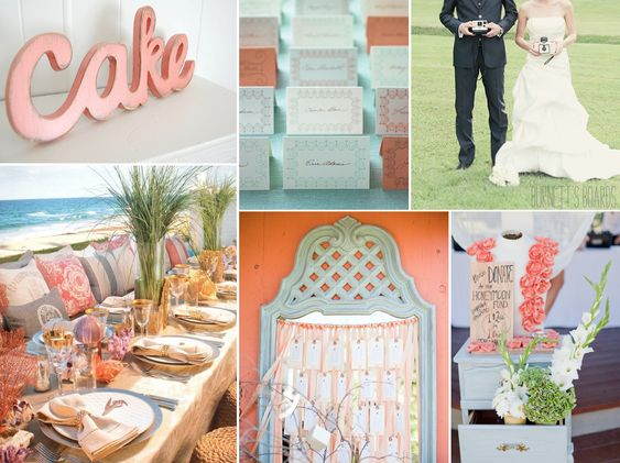 coral and seafoam wedding colors - perfect for a palm springs wedding