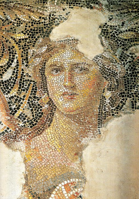 """""""Mona Lisa of Galilee"""", from the 3rd century city of Sepphoris, in what was then Roman Palestine. She is part of a large mosaic - whose main subject is Dionysus - which decorates the triclinium floor in a grand villa.  Roman mosaic artists were certainly masters of the craft. The color and detail is incredible."""