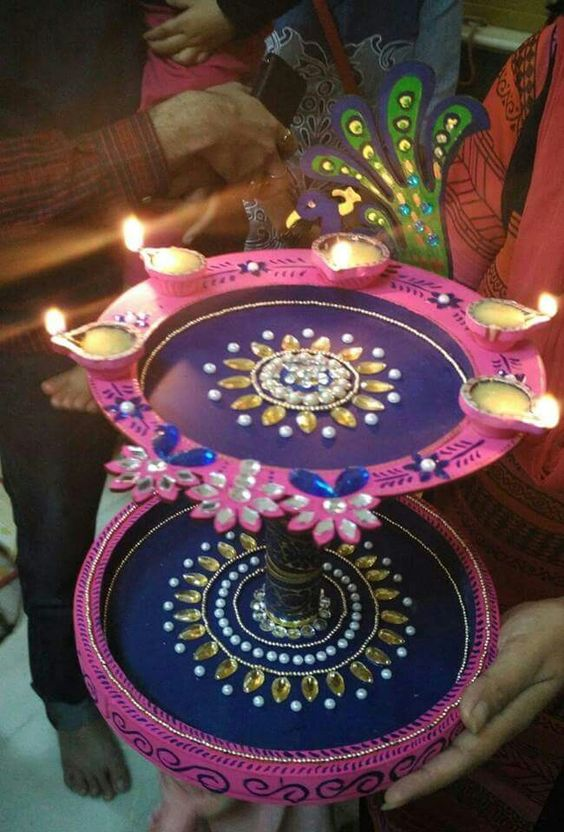 Aarti thali art and craft pinterest for Aarti thali decoration pictures